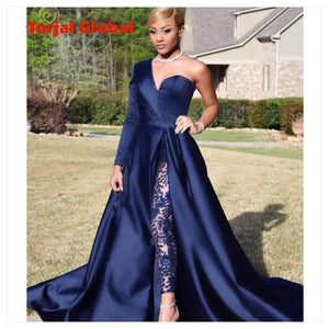Navy Blue  A-Line  Women's Gowns