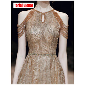 New Luxury Gold Evening Dress 2020