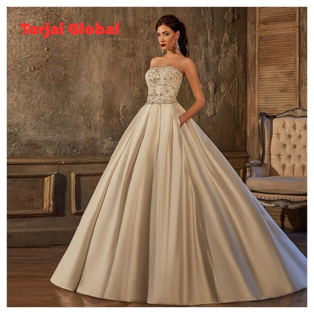 Custom Made Beading Crystal Satin A-line Wedding Dress