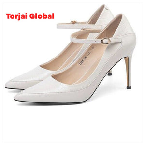 Women's Leather Thin High Heels Party Shoes