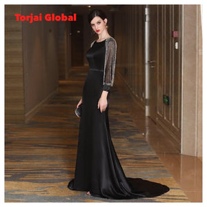 Black Long Sleeves Evening Dress