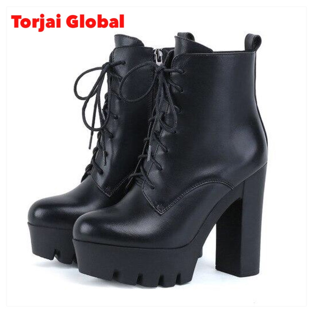 Genuine Leather Thick Heels Ladies Boots