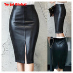 Black Leather High Waist Skirt