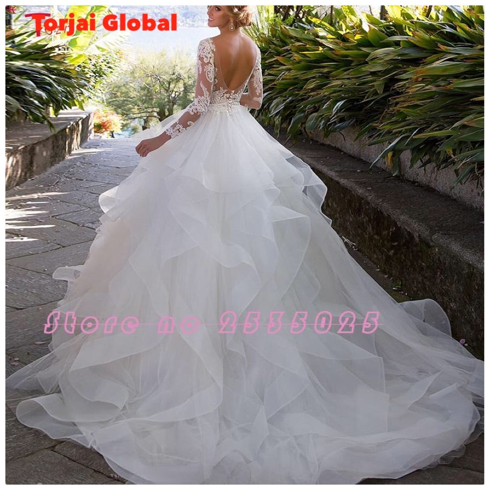 2020 New Arrivals Backless Long Sleeve Princess Wedding Dresses