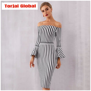 2020 New Winter Women's White&Black Elegant Dress - Torjai Global