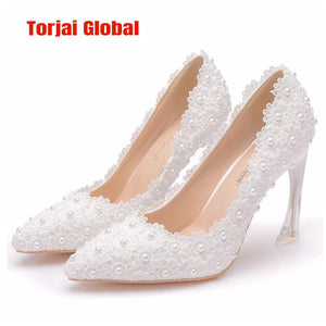 White Lace High Heels Bridal Shoes