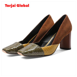 MORAZORA 2020 new arrive summer popular women pumps thick high heels square toe ladies shoes top quality sheepskin shoes