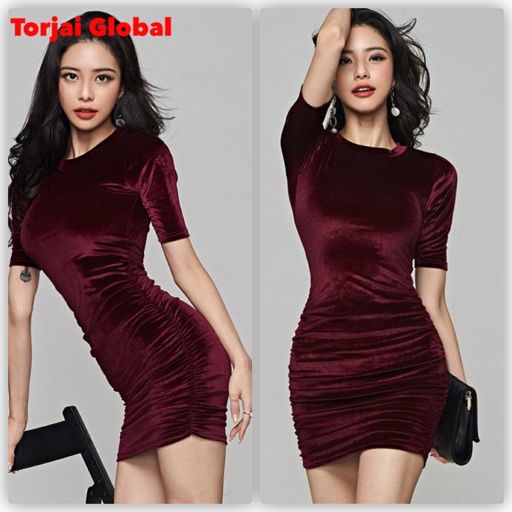 2020 Ladies Short Sleeve Velvet Dress