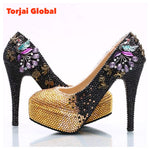 Black Rhinestone Ladies Heel