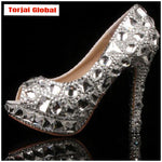 2020 Gorgeous Crystal High heel Wedding Shoes