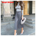 High-Waist Leather Skirt with Belt