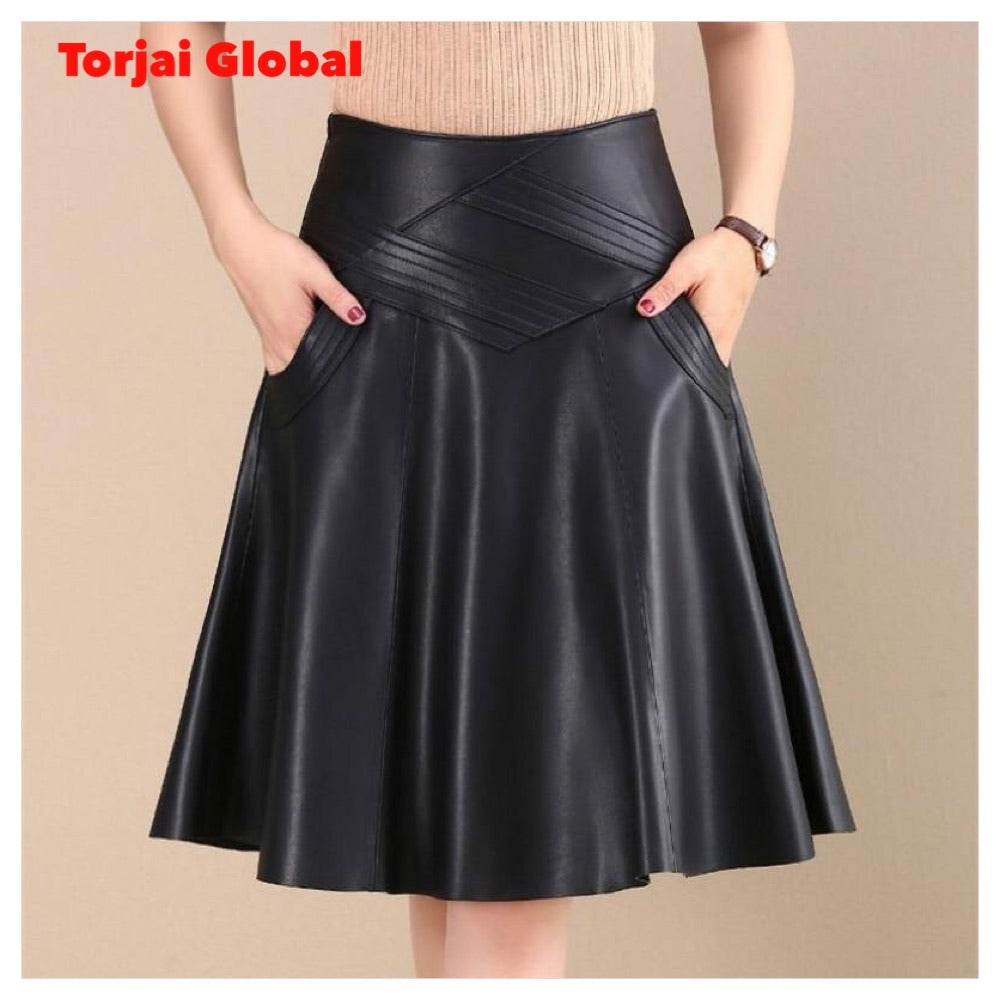 Spring /Autumn Fashion Women Black High Waist Leather Skirt