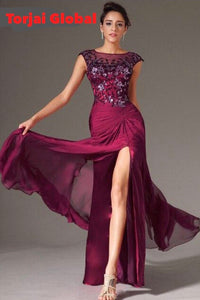 Formal Sleeveless Burgundy Chiffon Evening Dresses