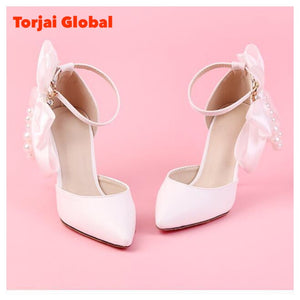 white Satin Butterfly-Knot Bow Wedding Shoes