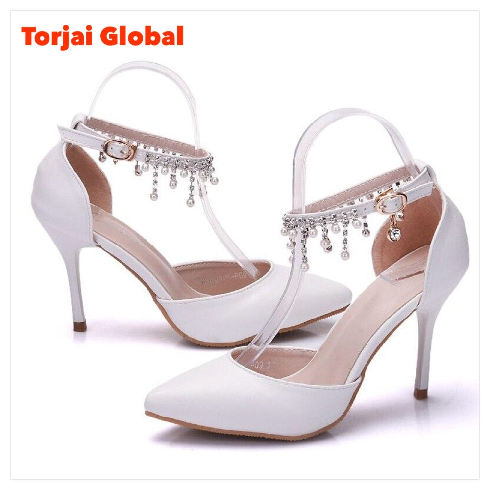 White Bridal High Heels
