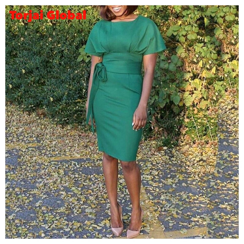 2021  Classy Green Bodycon Knee Length  Dress