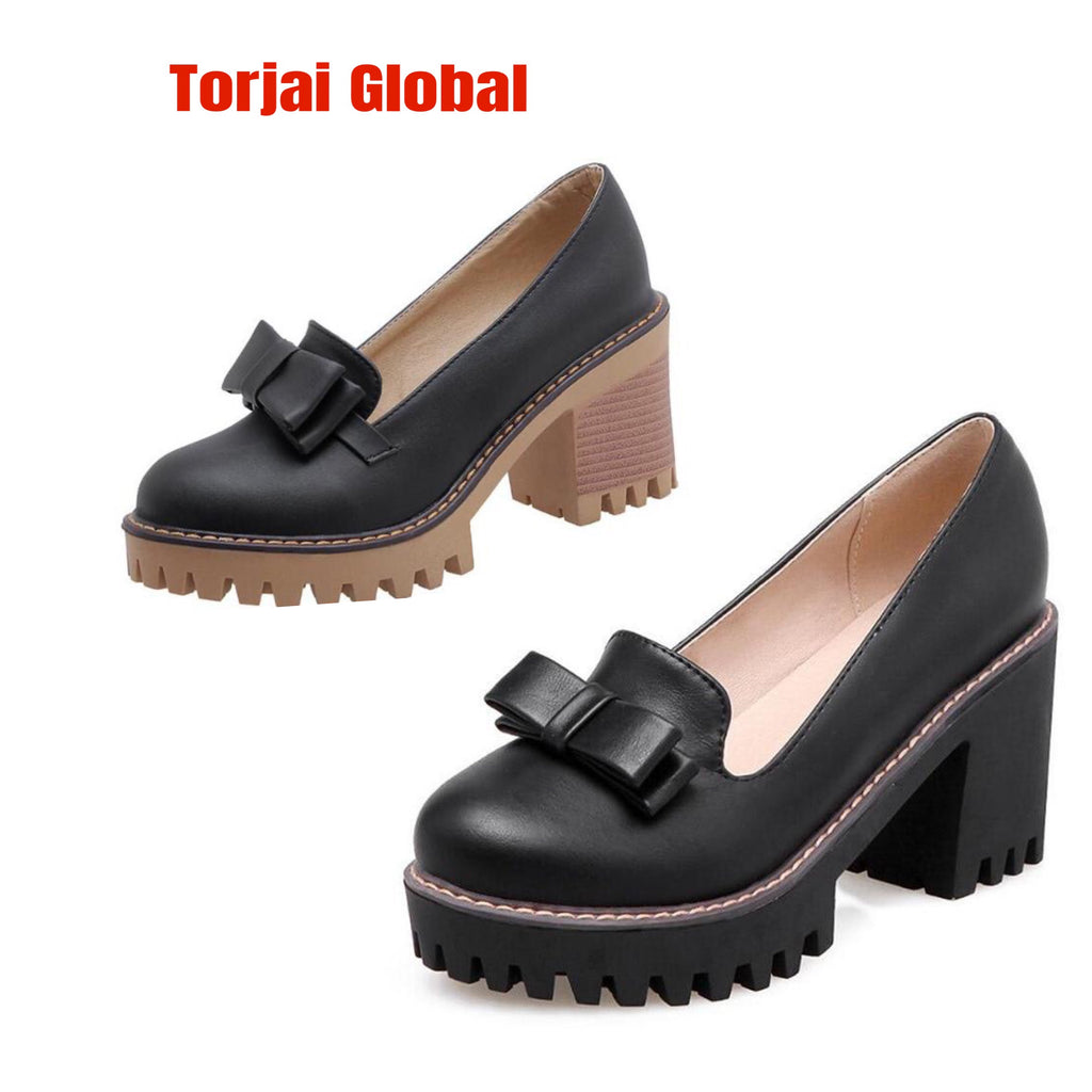 2020  British Style Thick Heels Women's Shoes