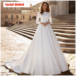 A-line Elegant Long Sleeve Bridal Dress  2020