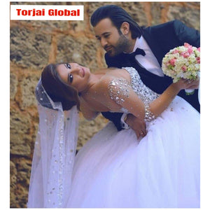 2020 Elegant Pearls Sequins Long Bridal Dress - Torjai Global