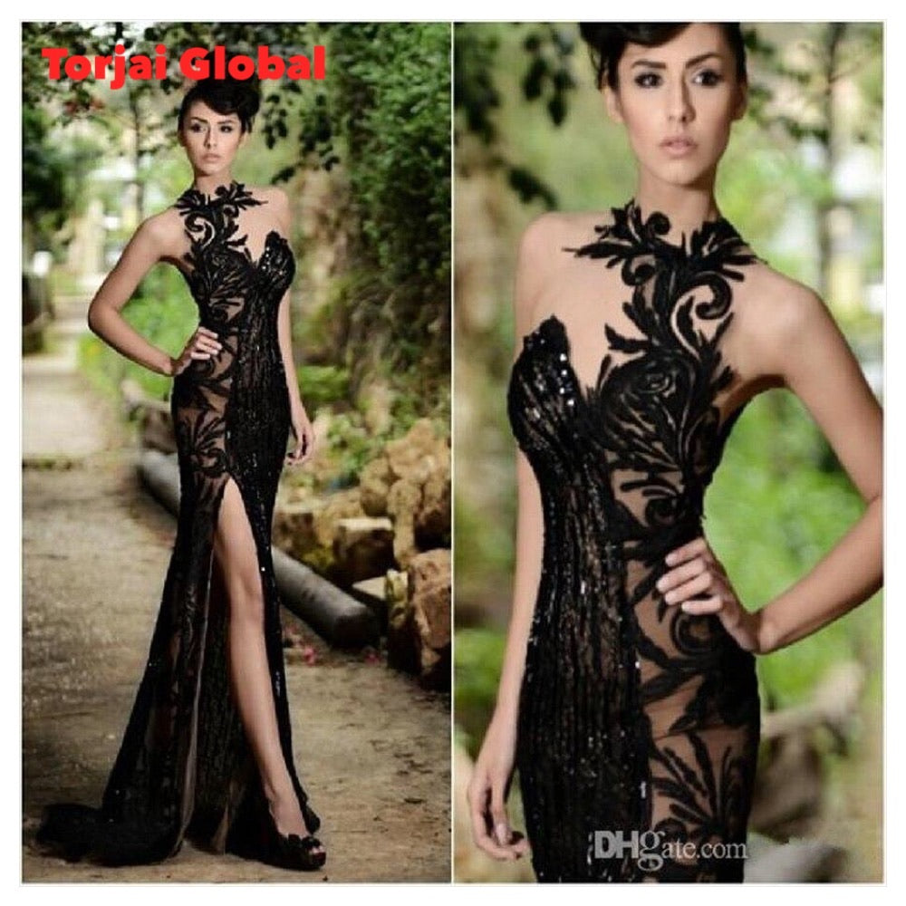 2021 Elegant Beading Split Evening Dress