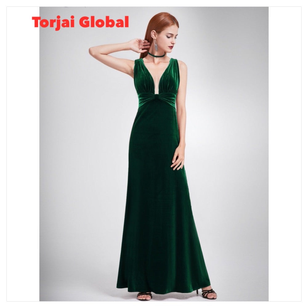 Elegant Velvet Long Evening Dresses