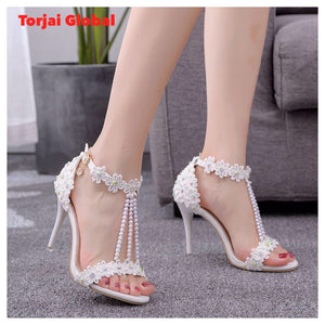 Women White Lace Flowers Pearl Bridal Shoes
