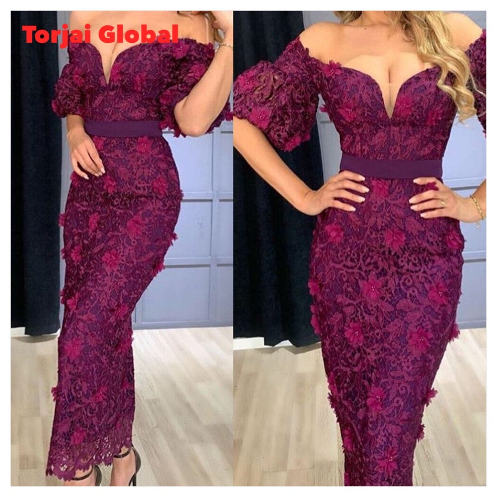 2021 Ankle Length Purple Straight Formal Evening Dress