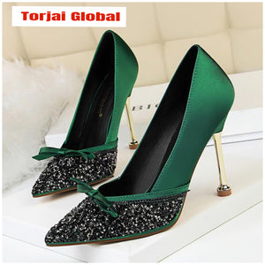 Women's High Heels Green Sequins Wedding Shoes