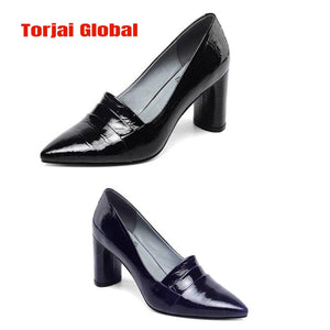 2020 Thick Heel Genuine Leather Formal Shoes For Women