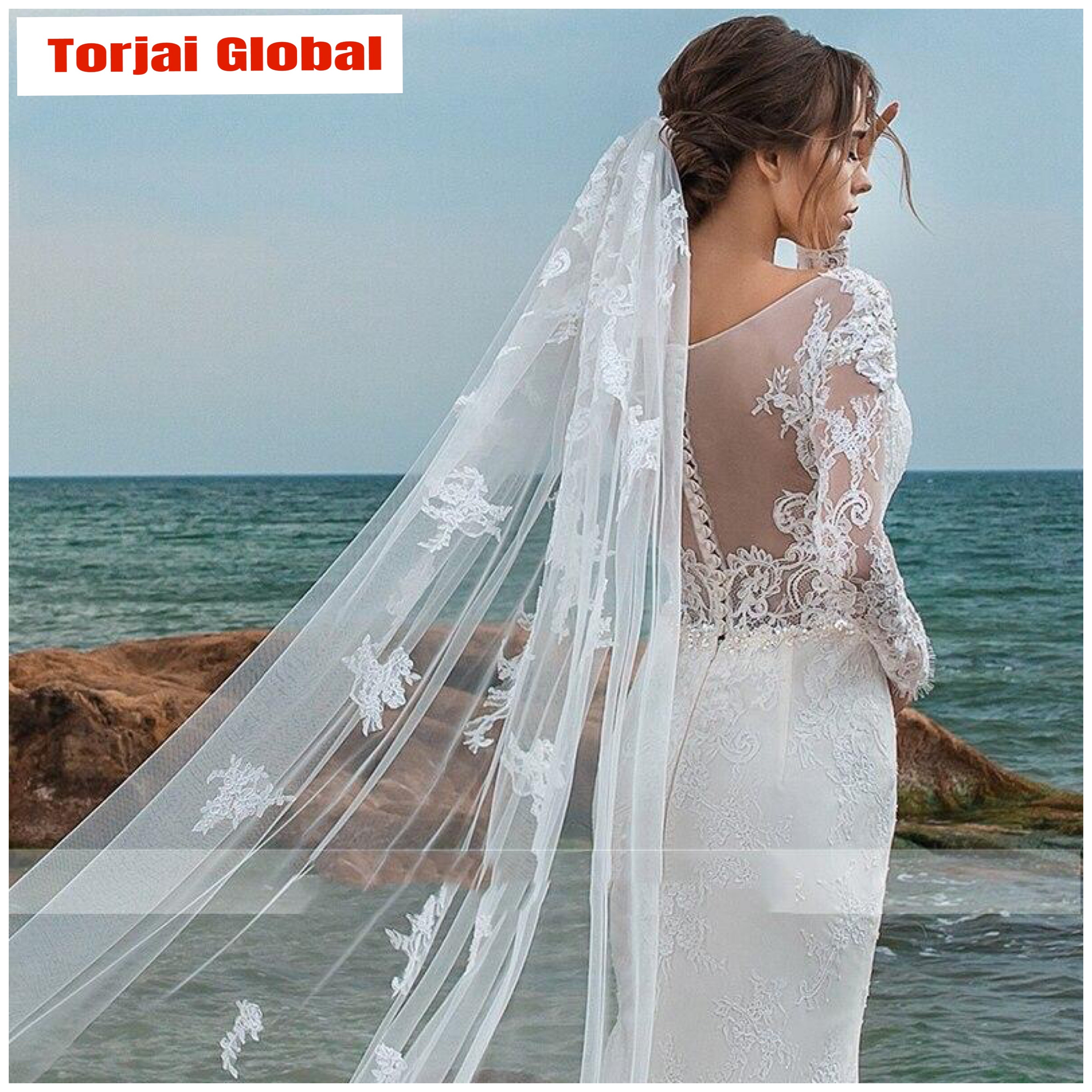 2020 V-neck Lace Wedding Dress With Detachable Train