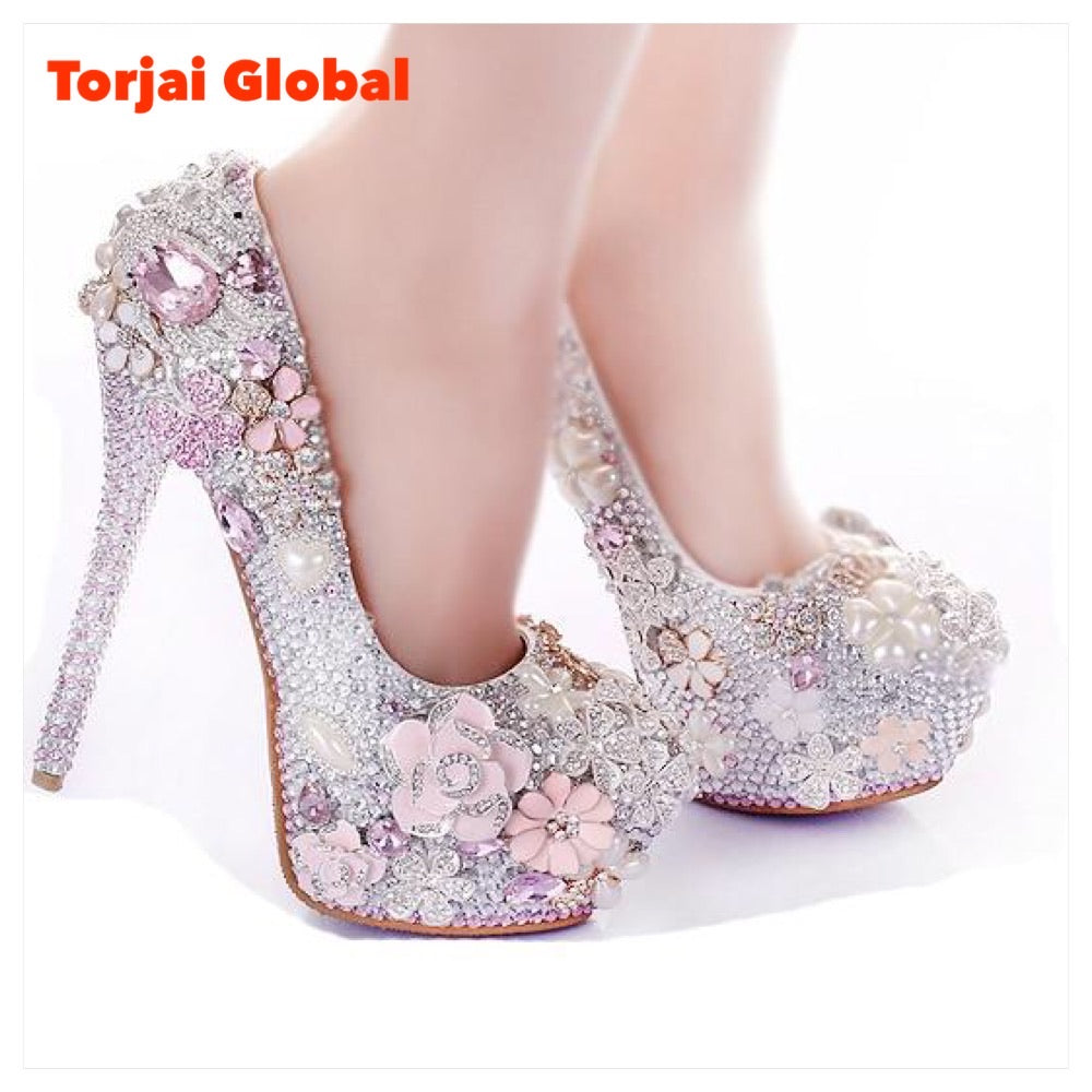 Gorgeous Rhinestone Flower Pink Wedding Shoes