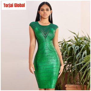 2020 New Green Lace Women's  Party Dress