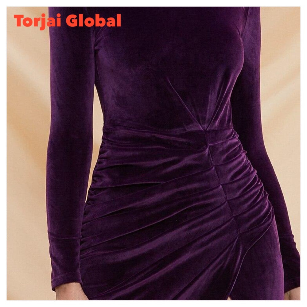 Elegant High-Neck Velvet Dress
