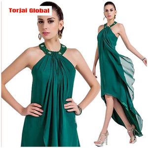 Dark Green Ankle-Length Evening Dress