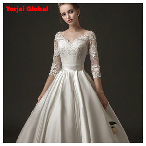 Half-Sleeve Lace Wedding Dress