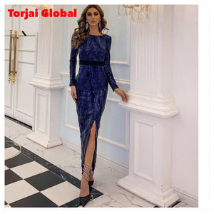 Women Long Sleeve Sequin Dresses