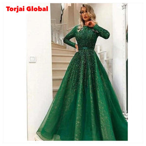 Long-Sleeves Green Beaded Wedding Dress
