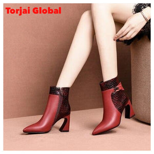 Women's Genuine Leather High Heel Shoes
