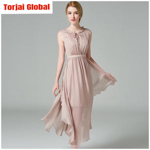 Elegant Sleeveless Real Silk Women's Dress