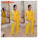 2021 New Arrival Yellow Women's 2 Pieces Formal Suit