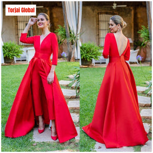 Red Jumpsuits Formal Evening Dresses