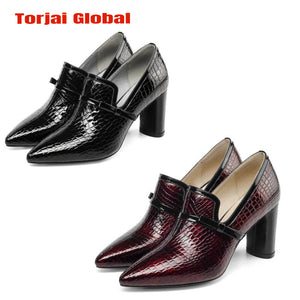 Women's Leather Round Heel Shoes