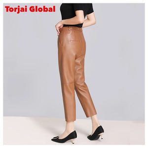 Genuine Leather Women's High Waist Pants