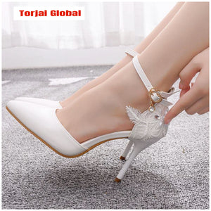 Women's White Lace Wedding Shoes