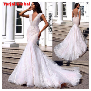 V-neck Backless Lace Wedding Dresses