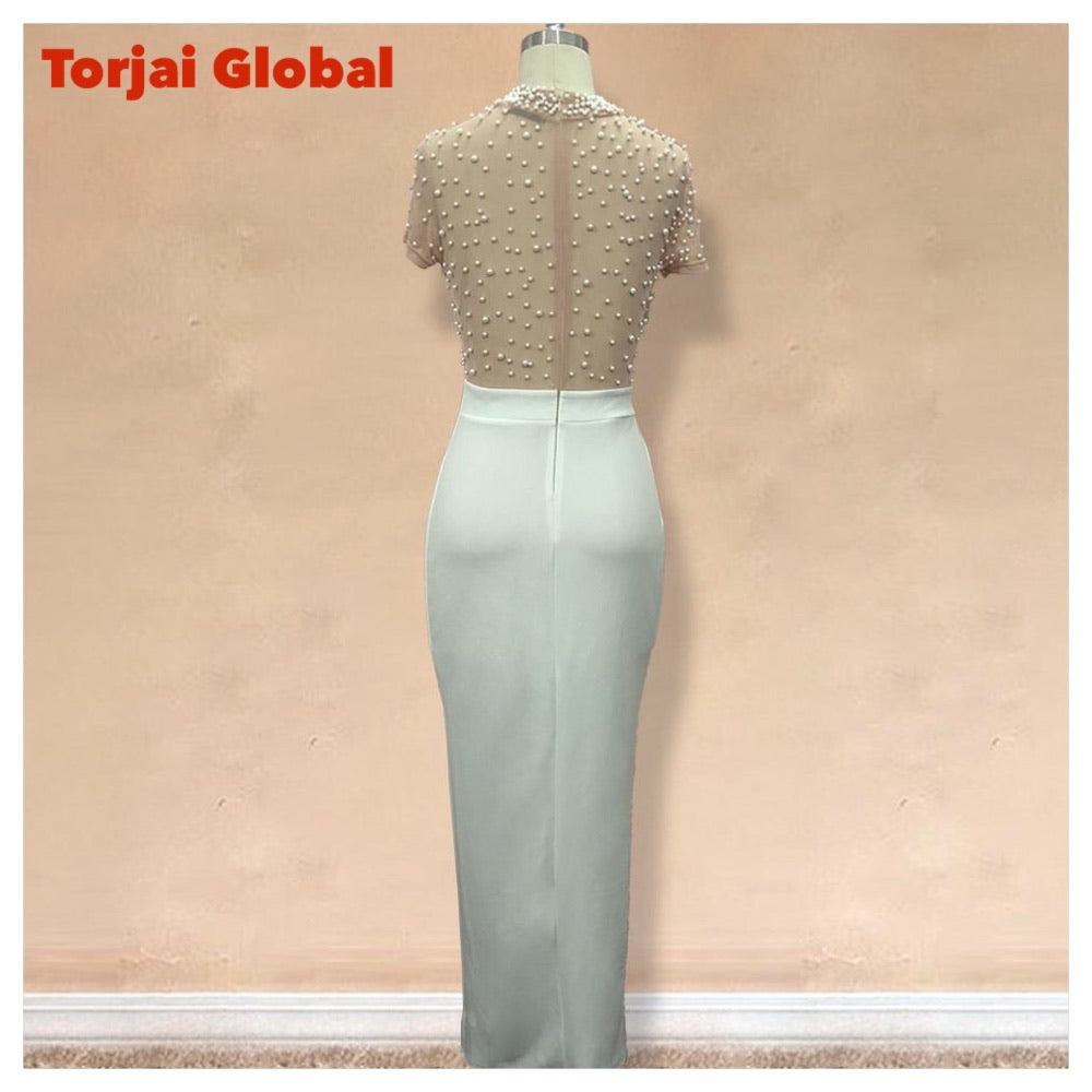 New Arrival White Beaded Party Dress