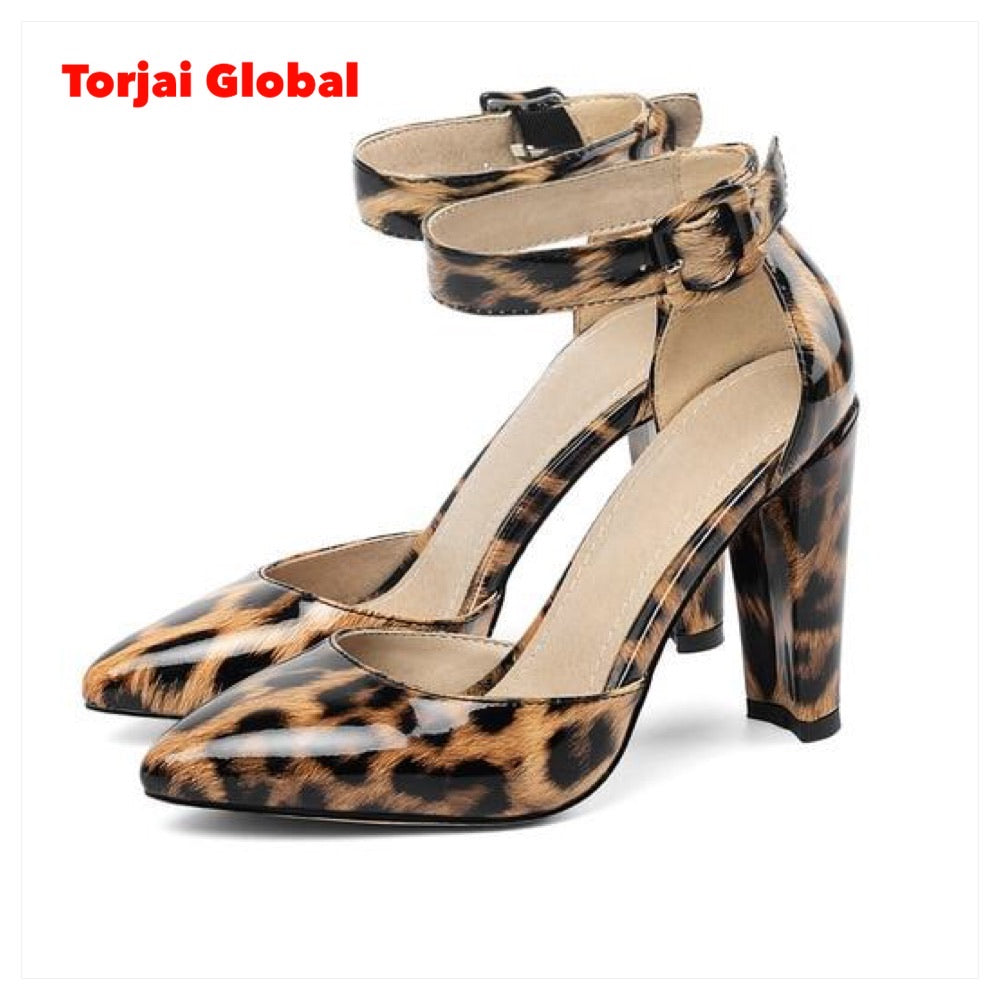 Pointed-Toe Buckle-Strap Ladies Shoes