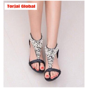 Charming 2020 New Fashion Women Beaded  Flat Sandals