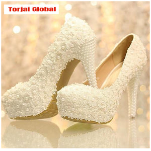 Hand-Made White Lace Bridal Shoes