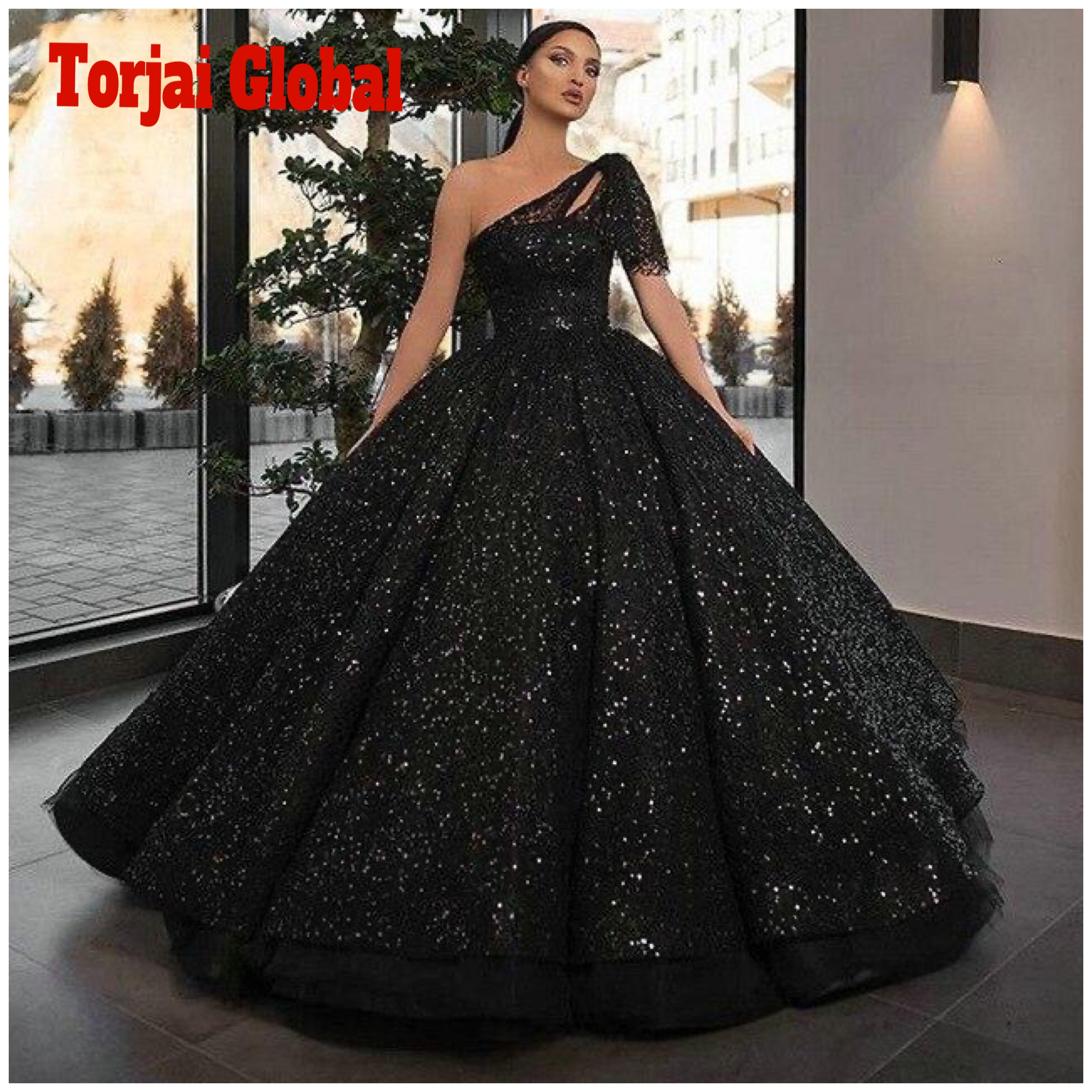Sparkly One Shoulder Black Evening Long Dress 2020